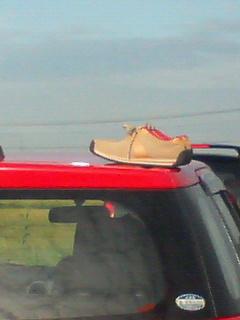 車の上の靴