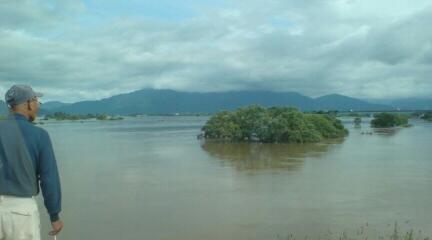 阿賀野川と早出川の合流地点